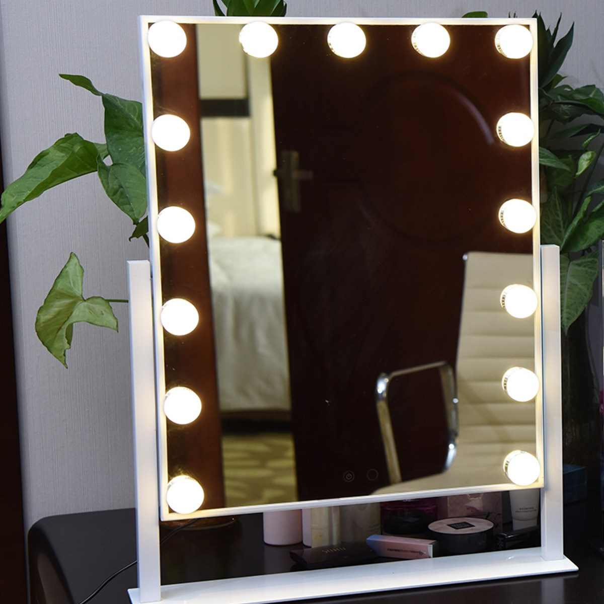 Large LED Makeup Mirror Roration Tabletop White Yellow Lighted Touch Screen Vanity Mirror With 15PCS Bulbs For Dressing Room dimmable hollywood makeup vanity mirror with light large lighted tabletop cosmetic mirror with 9pcs touch control led bulbs