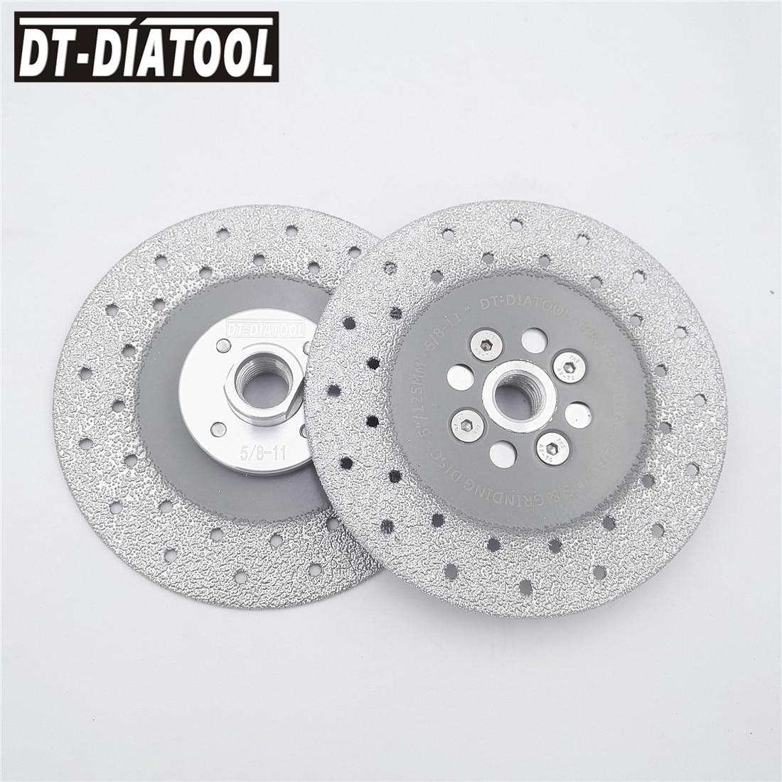 2pcs units 5 Double Sided Vacuum Brazed Diamond Cutting wheel Grinding Disc 5 8 11 Flange