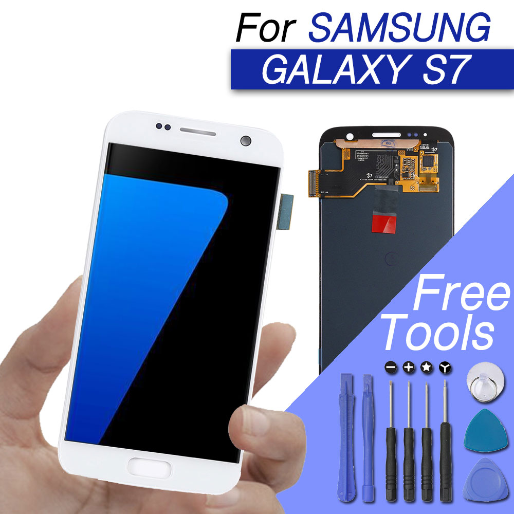 replacement lcd/display/screen for samsung galaxy s7 lcd digitizer touch screen amoled original g930f g930 with frame optional