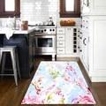 他ピンク青花花抽象 3d プリントノンスリップマイクロファイバーキッチン現代装飾洗えるエリアラグマットリビングルーム -