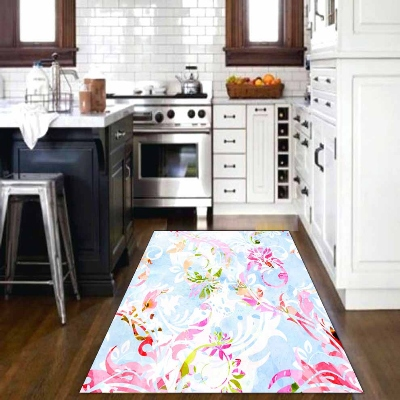 Else Pink Blue Flowers Floral Abstract 3d Print Non Slip Microfiber Kitchen Modern Decorative Washable Area Rug Mat