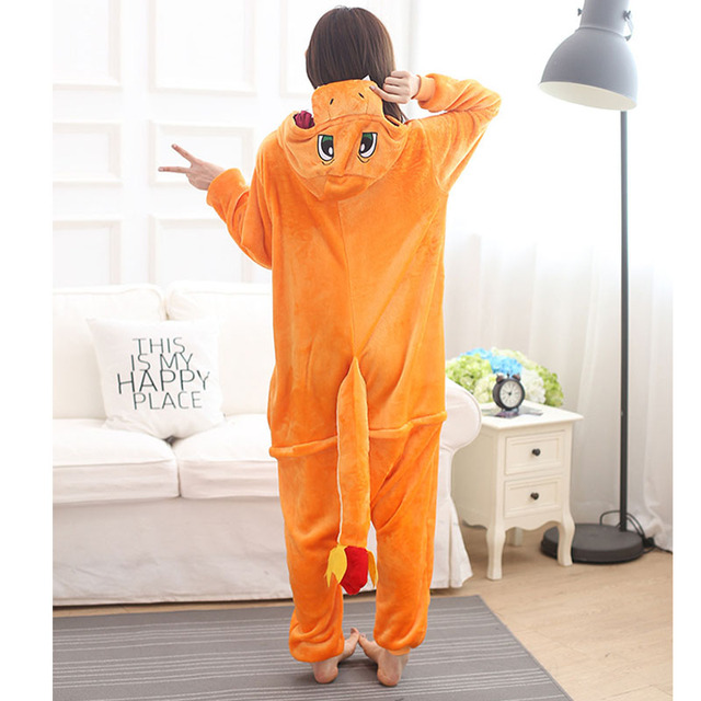 Pokemon Charizard Onesie Adult Women Men Pajamas Cartoon Animal Charmander Dragon Costume Party Winter Warm Cute Pyjama Sleep