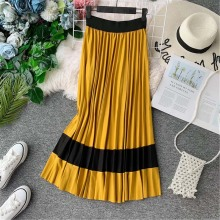 NiceMix European Style Vintage Contrast Color Pleated Skirts Women 2019 Spring OL A-line Mid-calf Swing Skirt