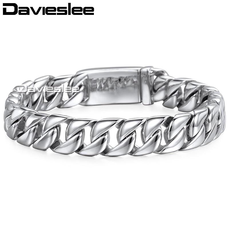 Davieslee Herren Armband Kette Curb Link 316L Edelstahl Armbänder - Modeschmuck - Foto 4