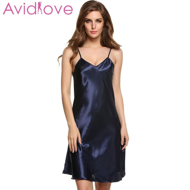 12f3d6f6ec Avidlove Stain Nightgown Women Slik Sleepwear Sexy Night Dress V Neck Strap  Solid Nightwear Sleep Dress Female Home Clothes