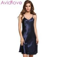 7d50ccb9d93 Avidlove Stain Nightgown Women Slik Sleepwear Sexy Night Dress V Neck Strap  Solid Nightwear Sleep Dress