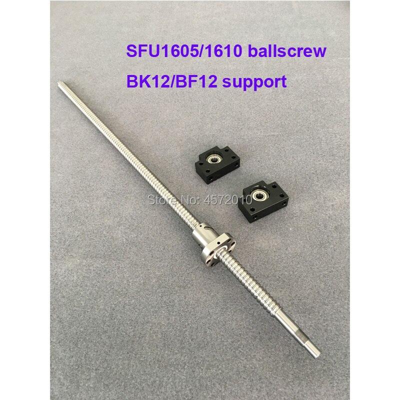 SFU1605 1610 BallScrew 650 700 800 900 1000 mm + BK/BF12 End support Rolled Ball screw with single Ballnut for CNC part SFU1605 1610 BallScrew 650 700 800 900 1000 mm + BK/BF12 End support Rolled Ball screw with single Ballnut for CNC part