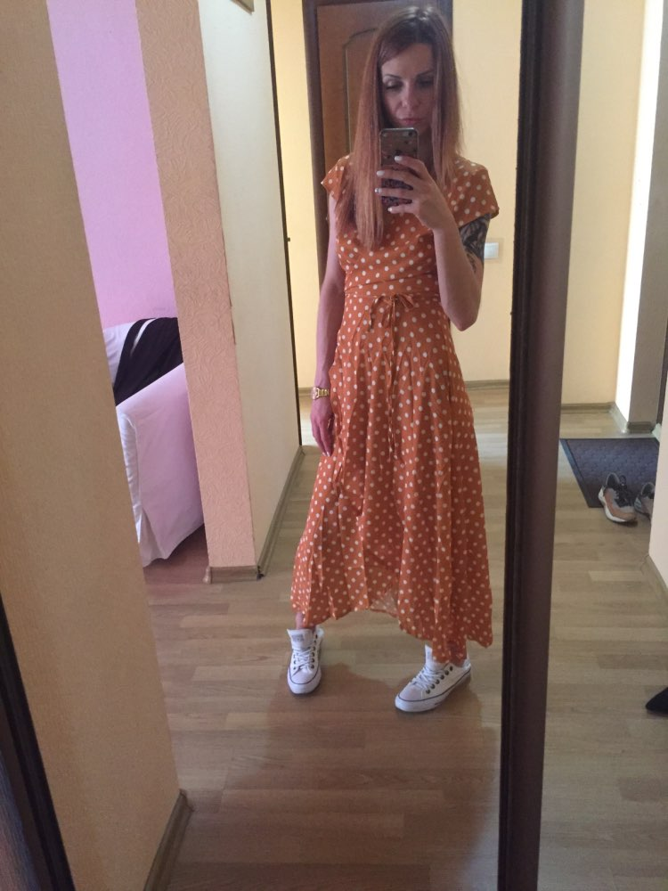 Polka Dot Dress Summer Dress Women Beach Dresses Bohemian V Neck Split Asymmetric Long Elegant Party Vestidos Wrap Dresses photo review