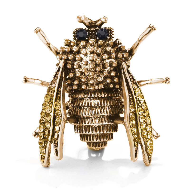 Creative vintage Crystal Brown Color Bee Brooches For men Retro personality Suits pin women Bag Dress Sweater Hijab Brooch Pins