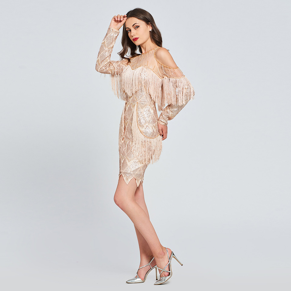 Dressv beading lace cocktail dress sequins long sleeves tassel wedding  party evening formal dress coctail dresses cutomade 3 4 5 ... a441f4640c58