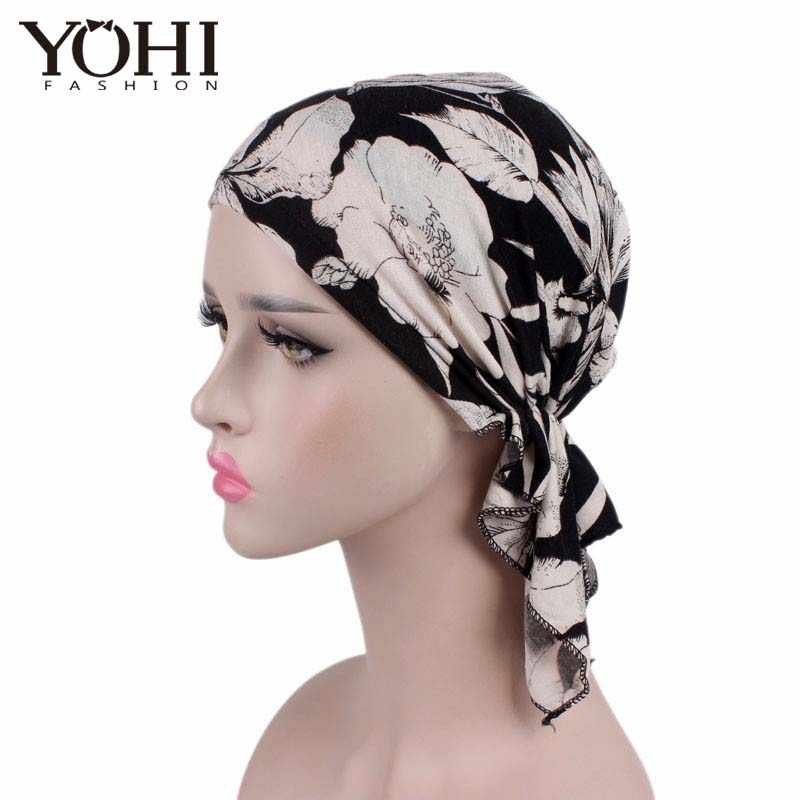 Free Shipping New high quality Women Stretchy Turban Cotton Beanie Pre Tied Scarf Head Scarf Chemo Hat of Lady Hair accessories