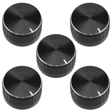 UXCELL 5Pcs 30x17mm Aluminium Alloy Potentiometer Volume Control Rotary Knob Knurled Shaft Hole Black Switch Accessories цена