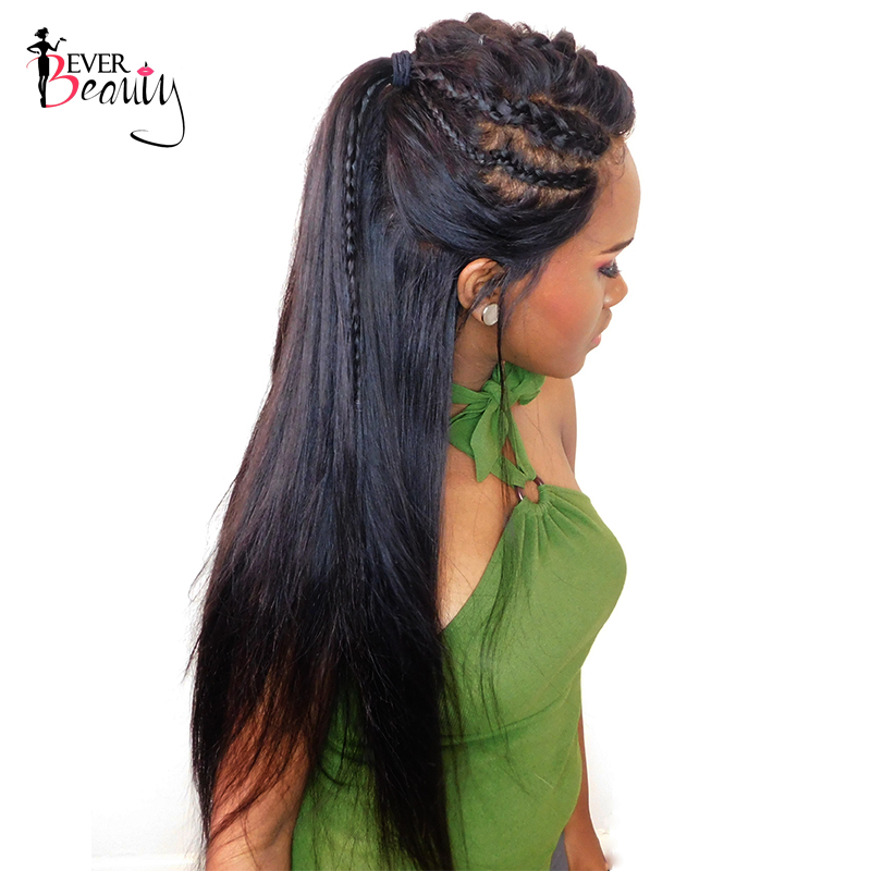 Ever Beauty 180% Density 360 Lace Frontal Wig Pre Plucked Brazilian Silky Straight Human Remy Hair Natural Black 12-24inch