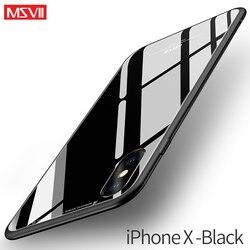 Msvii 아이폰 X 유리 케이스 X Coque 실리콘 충격 증거 럭셔리 슬림 강화 유리 커버 iphonex 다시
