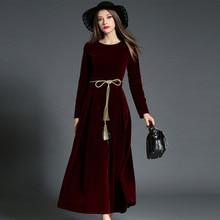 Fall Winter Velvet Lace Up Long Sleeve Maxi Dresses for Women Petite Ladies Dinner Dress Purple Black Navy Blue Plus Size S-XL