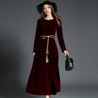 Fall Winter Velvet Lace Up Long Sleeve Maxi Dresses For Women Petite Ladies Dinner Dress Purple