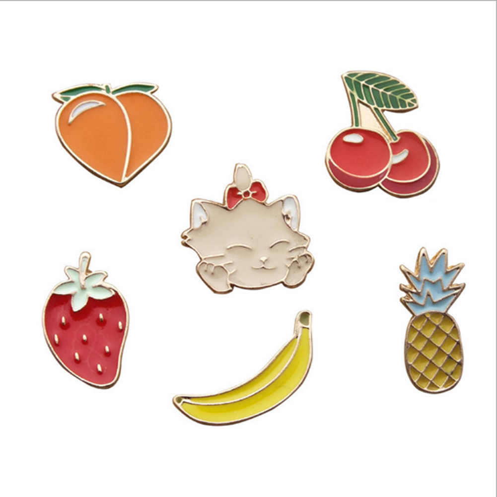 2017 new Cartoon Cat Peach Strawberry Cherry Pineapple Banana Cute Metal Brooch Pins Button Pins For Women Gift Wholesale