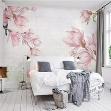 Fashion hand-painted magnolia elegant background wall professional production wallpaper mural poster photo