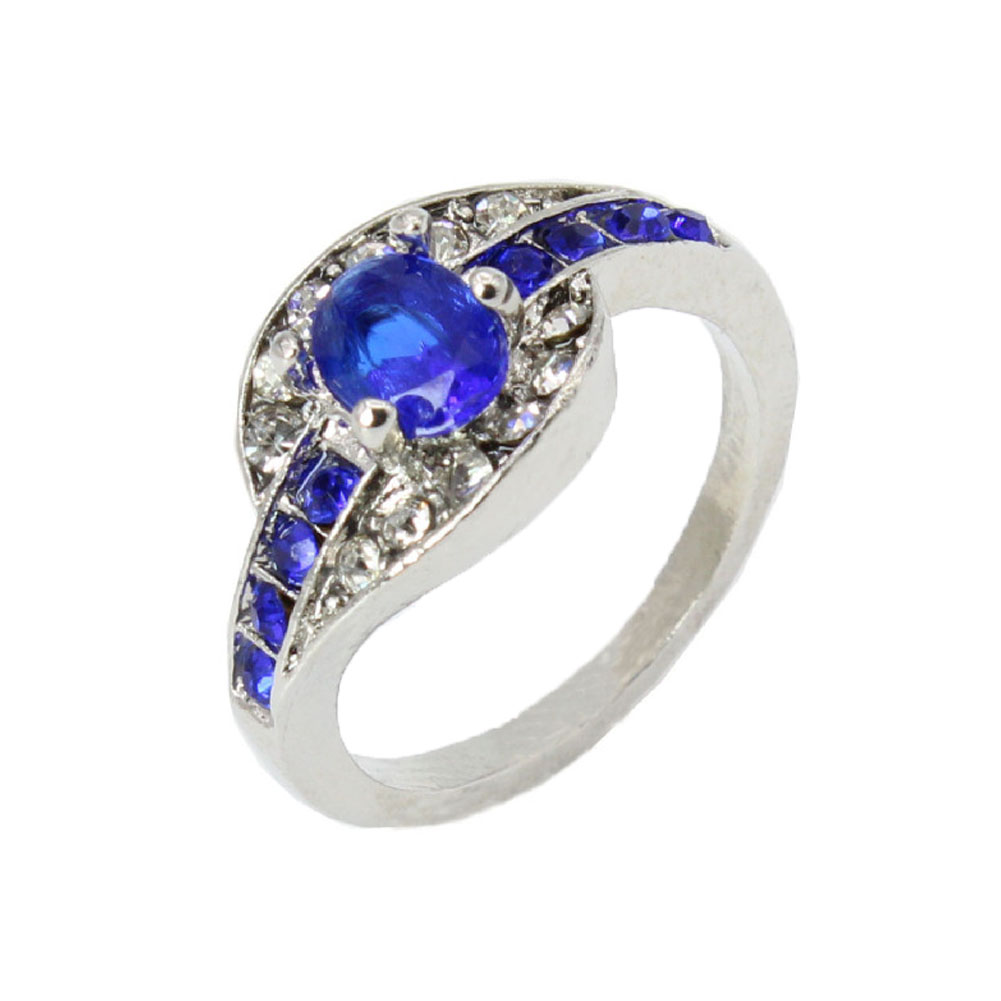 2018 hot sale fashion blue ring jewellery crystal Oval blue created gemstone ring for women 7-9 Size