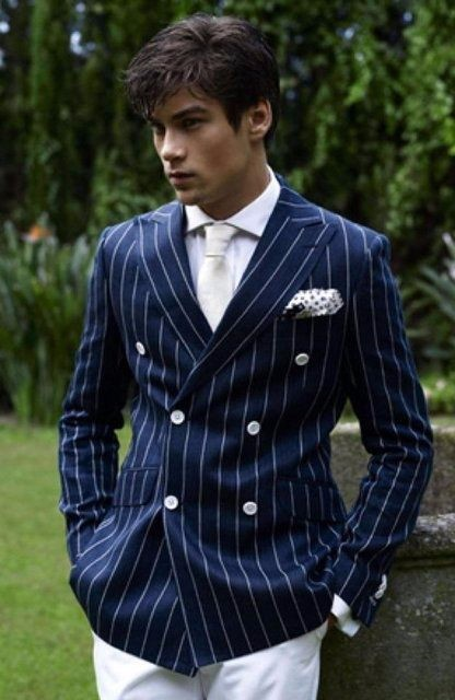 New Arrival Navy Blue Stripes Men Suits Groom Tuxedo Double Breasted Jacket Tailored Suit Skinny Prom Blazer Terno Masculino