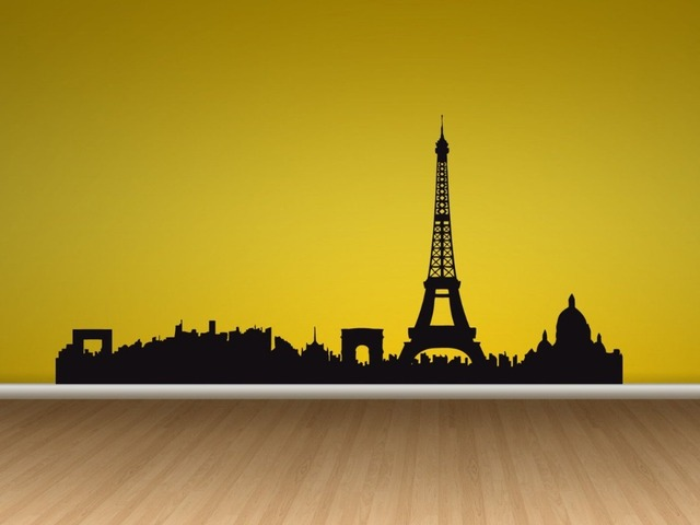 Wall Decal Vinyl Sticker Eiffel Tower France Skyline Paris Girly ...