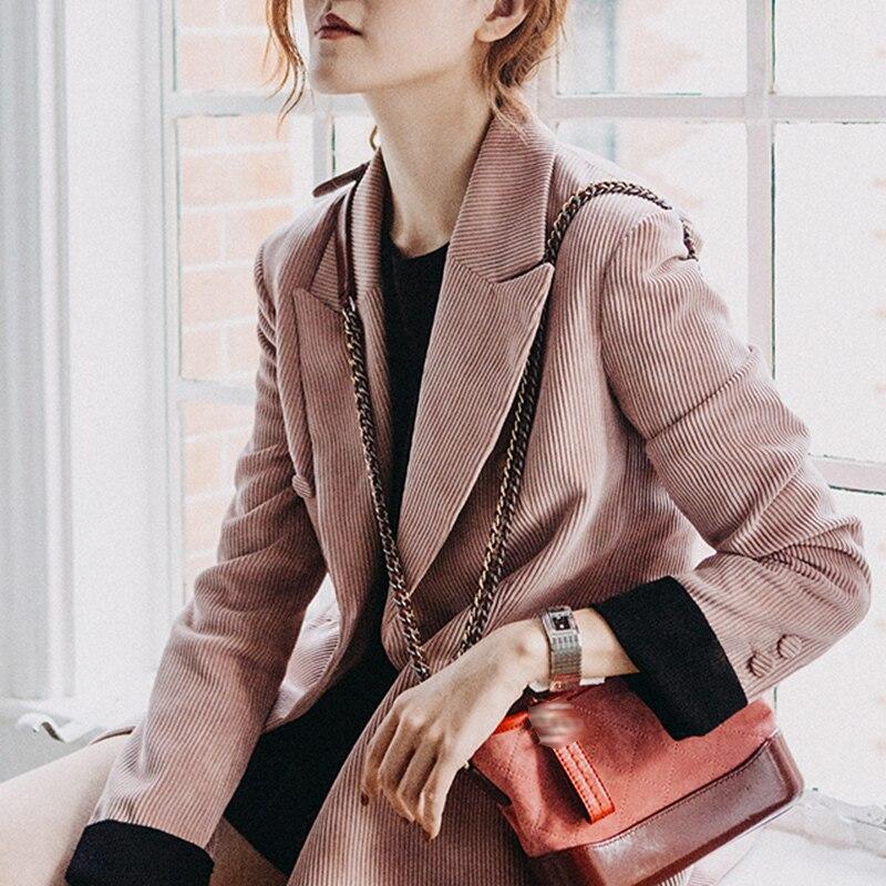 Демисезонный розовый вельветовый блейзер для женщин Кнопка однобортный Тонкий костюм Пиджаки для и куртки повседневное блейзеры для офиса