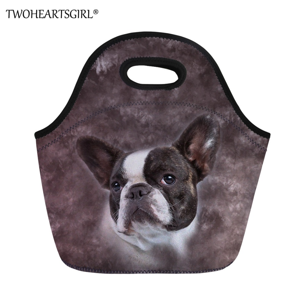 TWOHEARTSGIRL 3D Printing Cute Pug Dog Lunch Bag for Women Office Work Student Kids Daily Picnic Storage Food Handle Lunch Bags