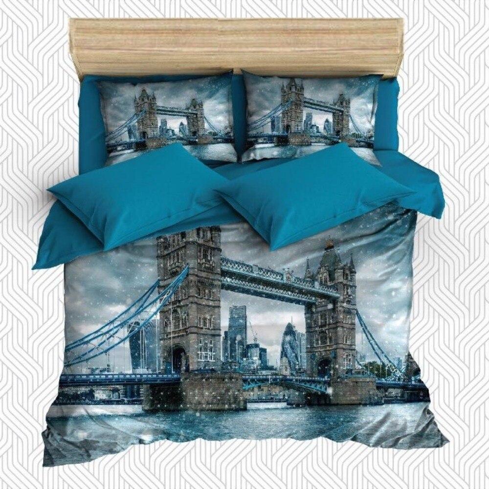 Ev ve Bahçe'ten Nevresim'de Başka bir 6 Adet Büyük Mavi Londra Köprü Kule Deniz 3D Baskı pamuk saten Çift nevresim Seti Yastık Kılıfı yatak çarşafı title=