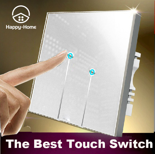 110V~220V White 2 gangs 2 way Waterproof Glass Screen LED touch light switches wall switch touch,Wallpad Free OEM,Free Shipping