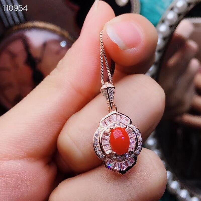 KJJEAXCMY boutique bijoux 925 en argent sterling incrusté naturel rouge corail dame collier pendentif avec deux ensembles de soutien d - 3