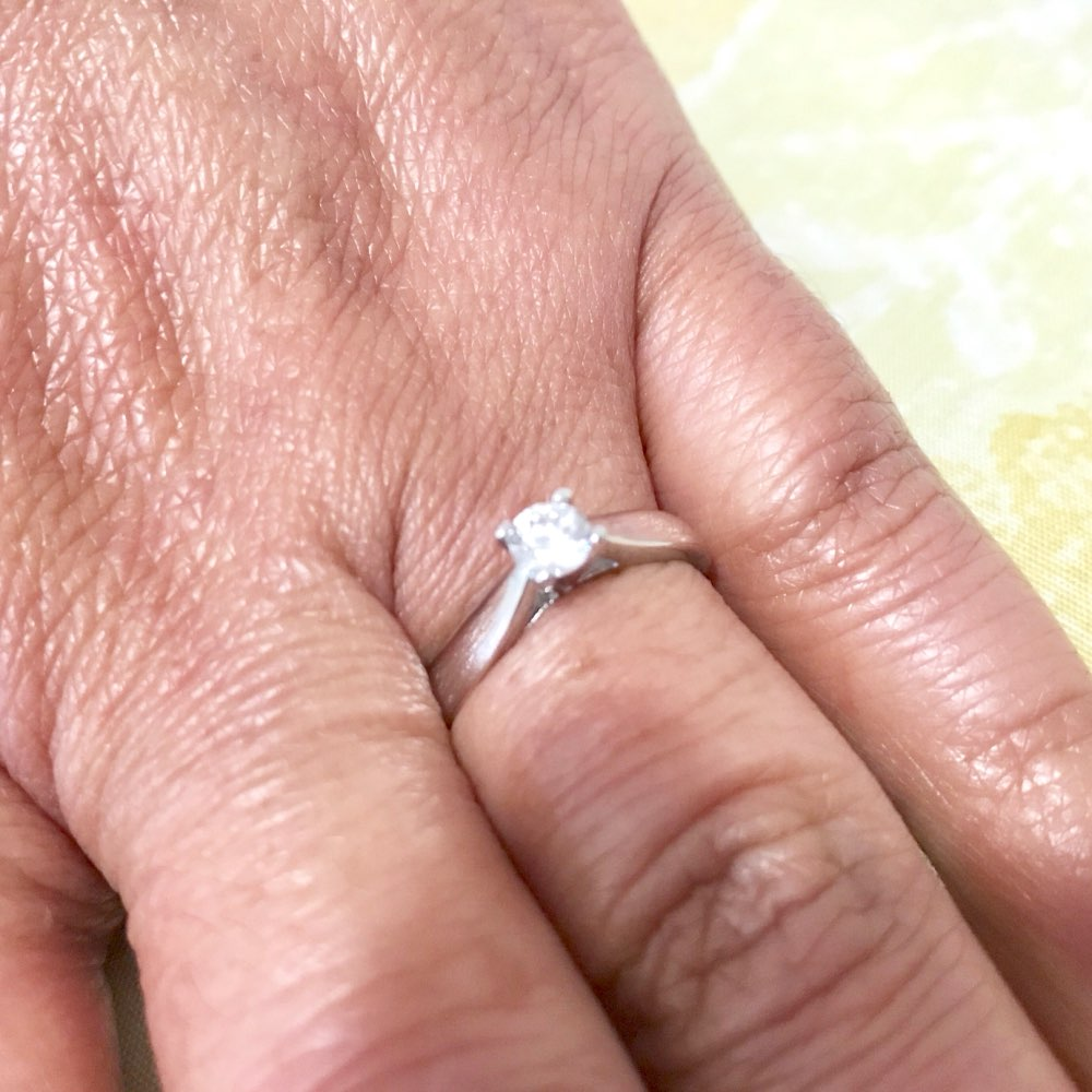 925 Sterling Silver 0.2ct Cubic Zirconia Solitaire Engagement Ring
