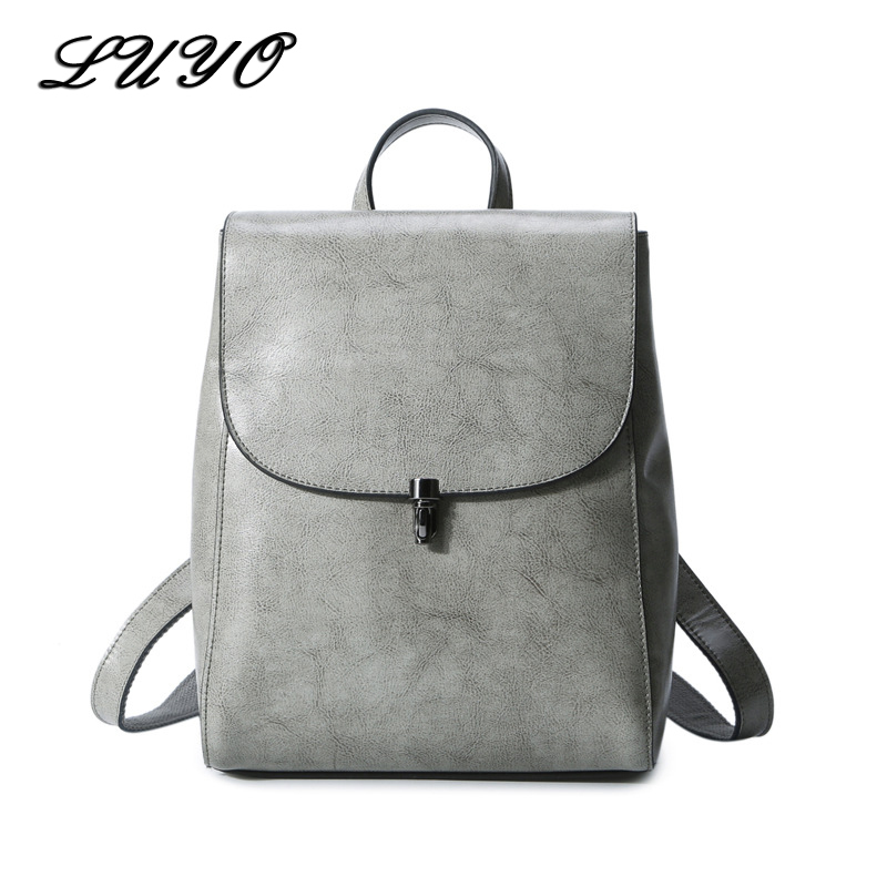 LUYO Genuine Leather Fashion Feminine Small Designer Backpack Female Teenage Backpacks For Girls Women Bagpack Sac A Dos Kanken