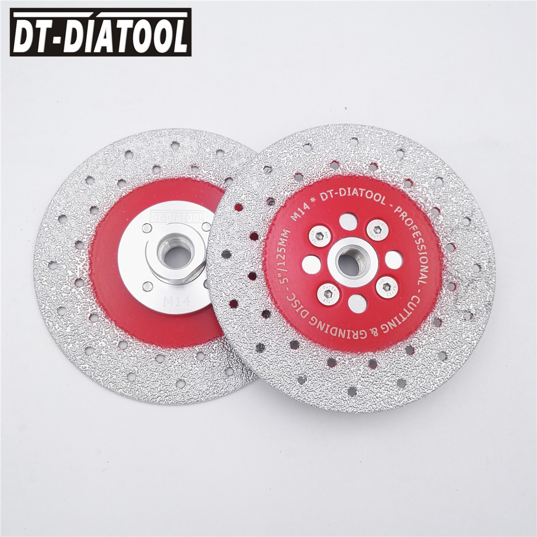 2pcs 125mm Double Sided Vacuum Brazed Diamond Cutting Disc blade Grinding wheel M14 thread multi purpose high quality long life