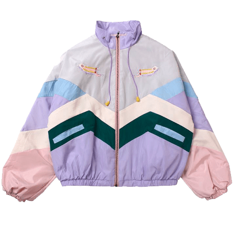 Japan style baseball sport jacket windbreaker tennis rain jacket PASTEL COLORS PATCHES LINES HOOD RAIN COAT