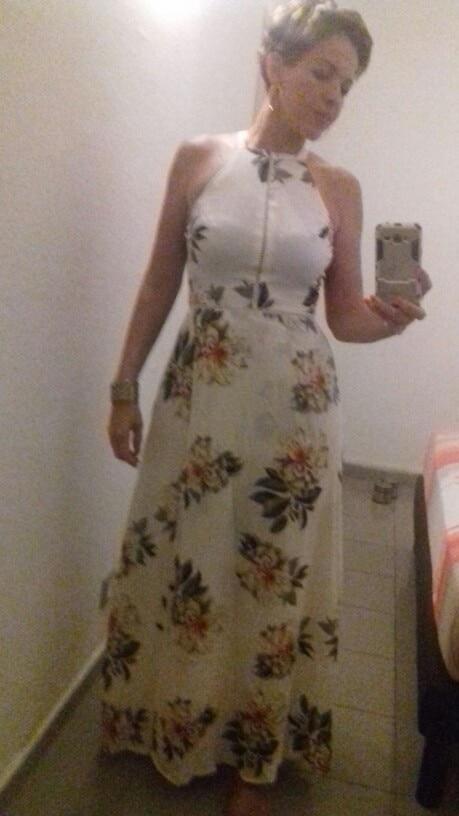 fdb09fcd30 Simplee Floral print halter chiffon long dress Women white split ...