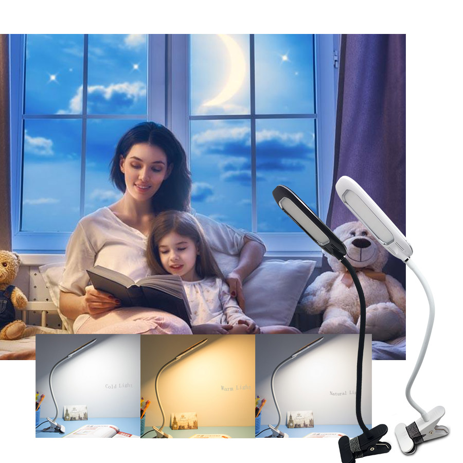 USB Office Desk Clamp Lamp 3 Level Dimmer 3 Color lamp Adjustable Swing Arm Architect LED Table Lamp with USB Charge,Eye-caring