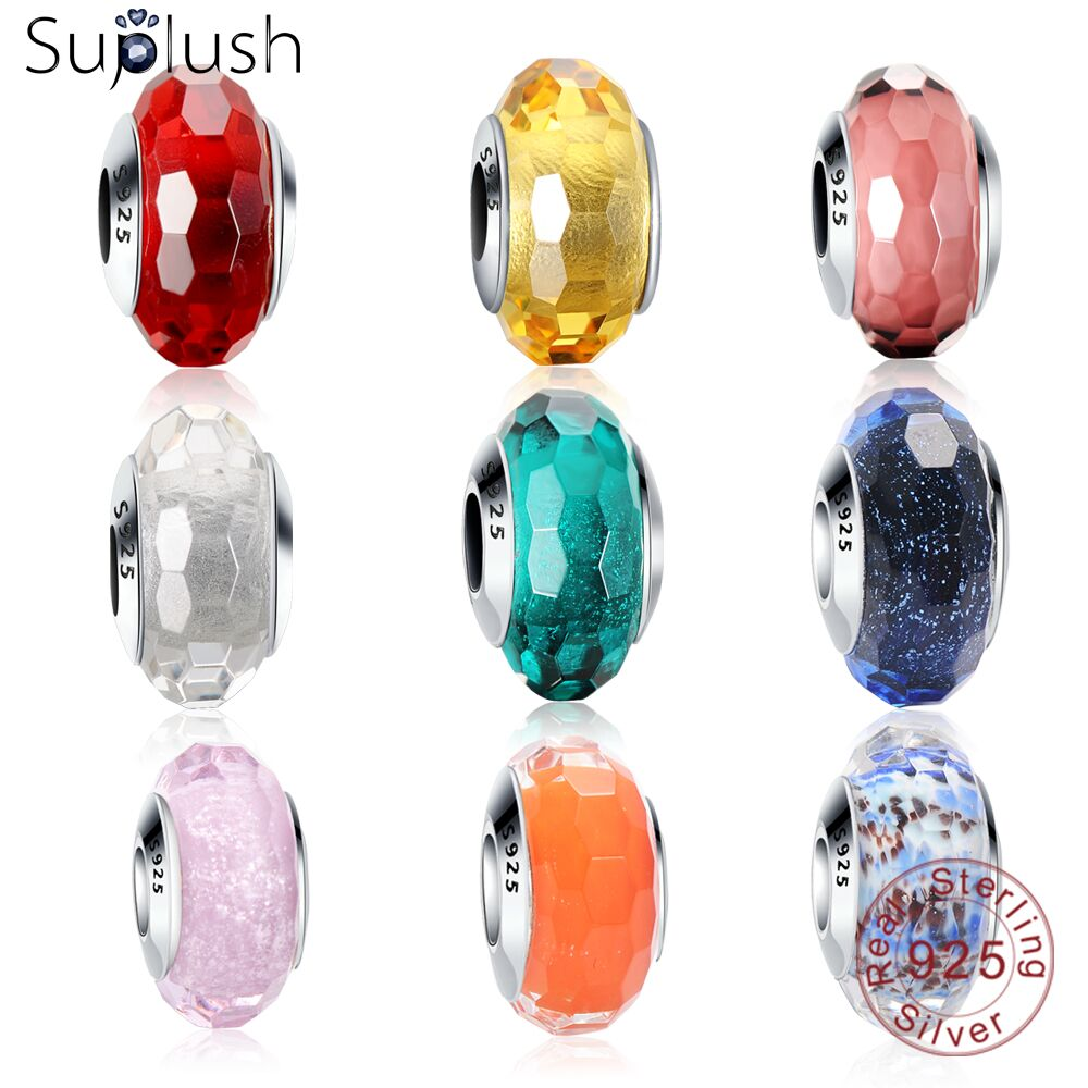 Suplush 925 Sterling Silver Sparkling Murano Glass Beads fit Original Pandora Charm Bracelet Brand Jewlery Accessories gift suplush 100