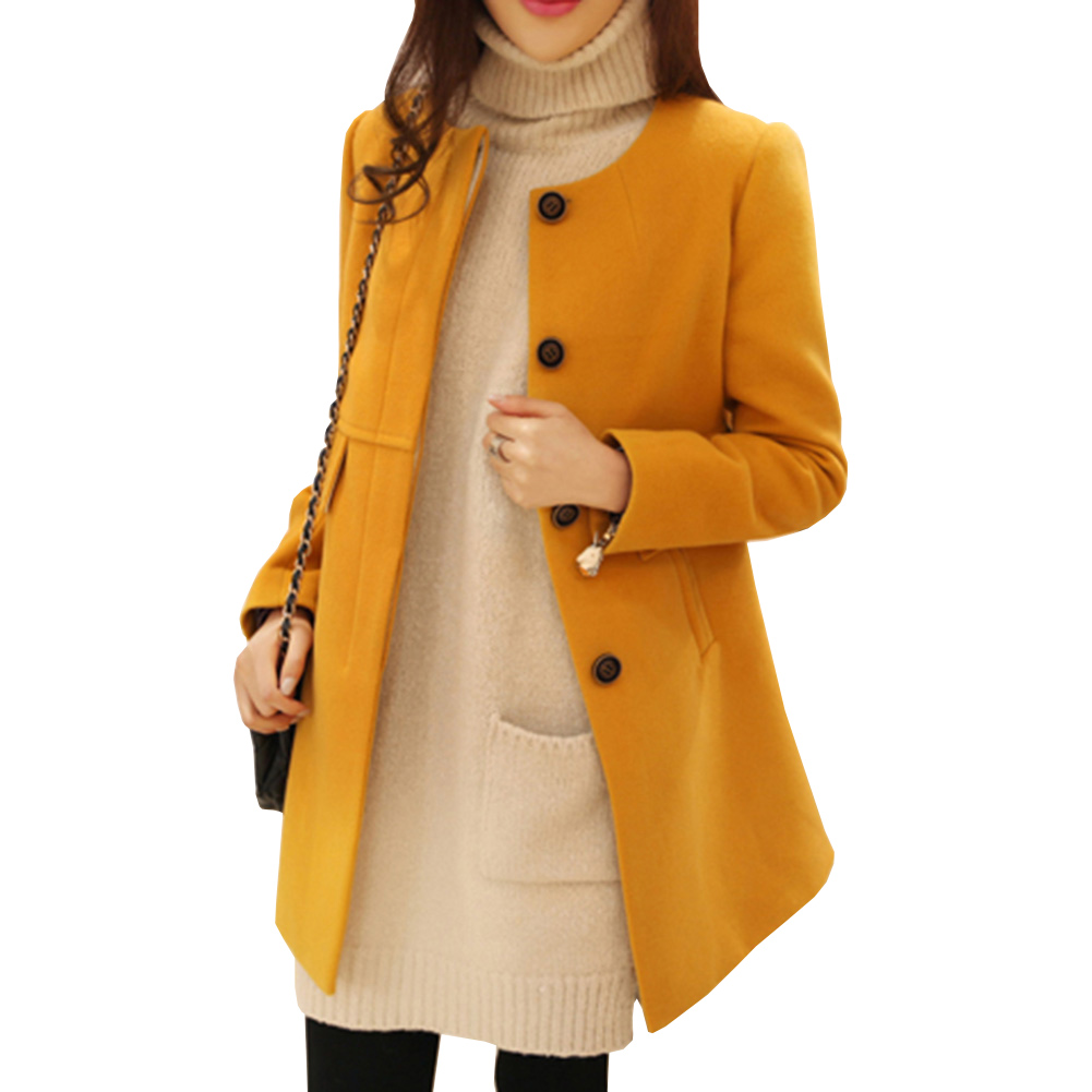 2017 New Winter Wool Coat Women O Neck Long Sleeve Solid Blends A-Line Single Breasted Female Cloth