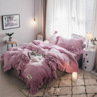 KALAMENG Fashion Autumn Winter Warm Milk Velet Flannel Bedding Sets Fleece Duvet Cover Bed Sheet Pillowcases Bed Cloth King Size