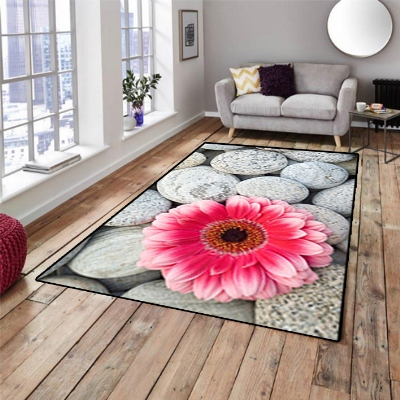 Else Gray Pebble Big Stones Pink Flowers Floral 3d Non Slip Microfiber Living Room Decorative Modern Washable Area Rug Mat