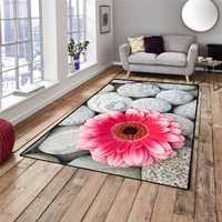Sonst Grau Pebble Große Steine Rosa Blumen Floral 3d Nicht Slip Mikrofaser Wohnzimmer Dekorative Moderne Waschbar Bereich Teppich Matte