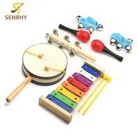 Senrhy 7枚セット木琴ガラガラマラカスそりベル手首鐘パーカッション玩具リズムセット楽器啓発おもちゃ出産祝い