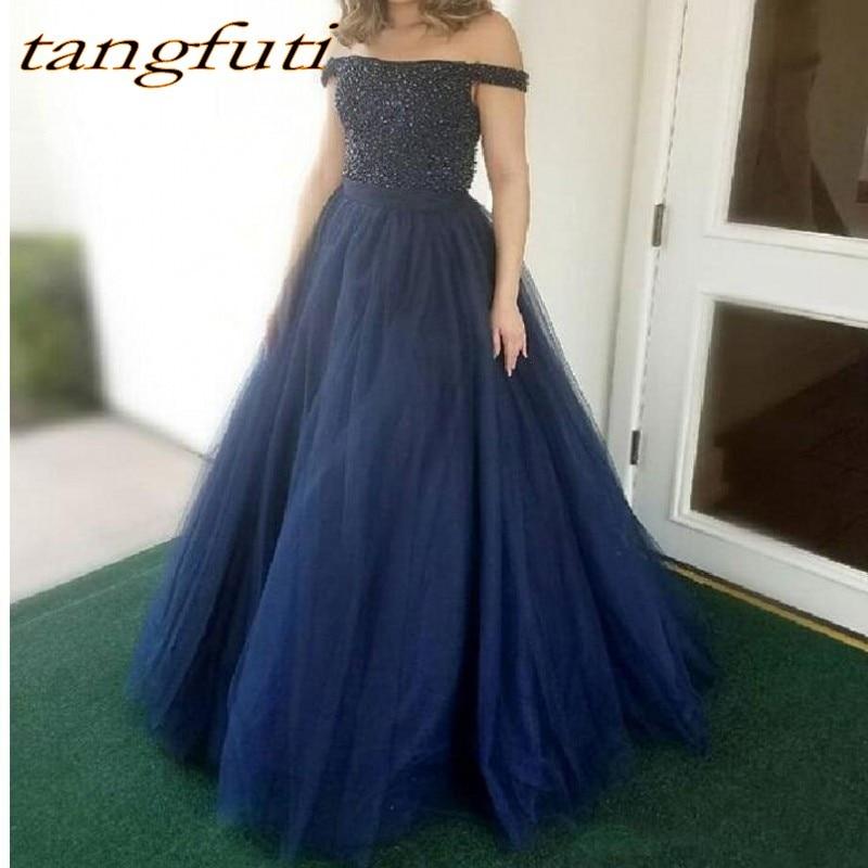 Belles longues robes de soirée fête en vente bleu marine dos nu perlé une ligne femmes bal formel robes de soirée robe
