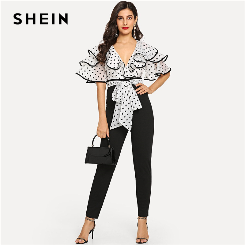 SHEIN Black And White Office Lady Dot Surplice Neck Contrast Binding Colorblock Ruffle   Jumpsuit   Summer Elegant Women   Jumpsuits