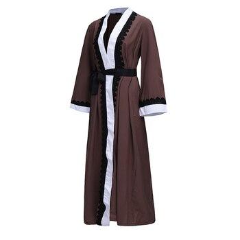Мусульманское Для женщин Мода Кружево халат с длинными печати дамы Костюмы Для женщин арабских дамы Малайзии мусульманских Халаты