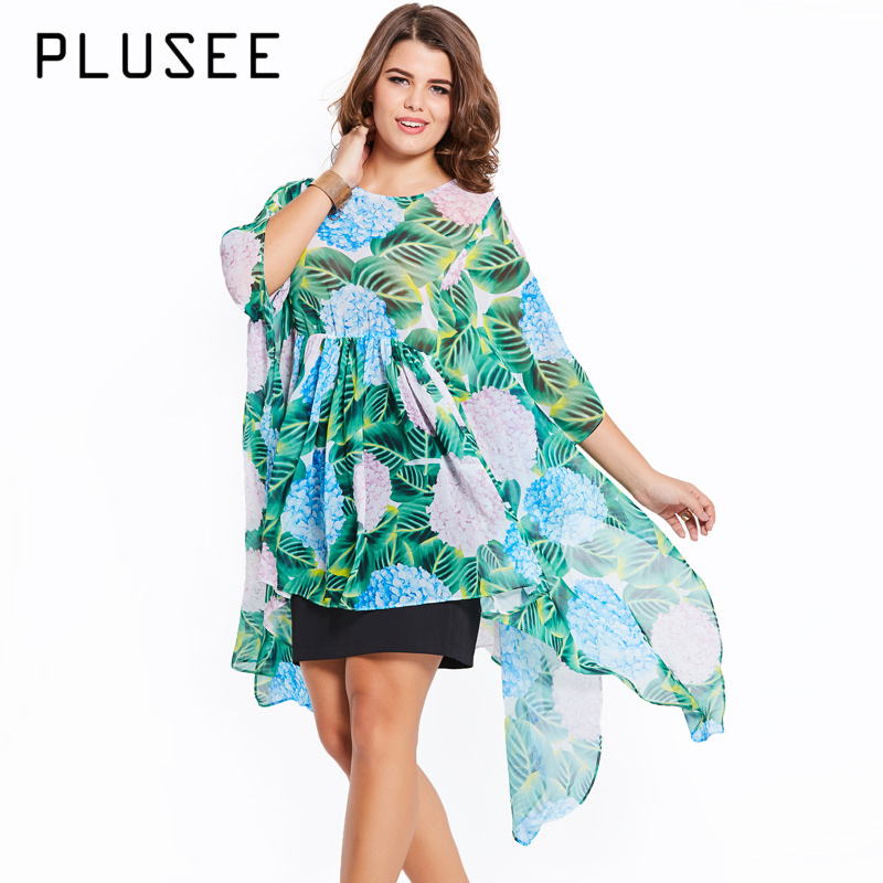 Plusee  Women Plus Size Bohemian Blouse Top for Summer Half Sleeve Floral Beach Big Size Blusas Irregular Hem XL-4XL