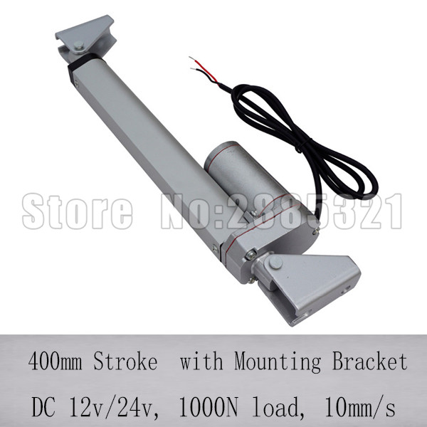 400mm stroke linear actuator for solar tracker with mounting bracket, 1000N/100KGS load 12v telescoping linear actuator400mm stroke linear actuator for solar tracker with mounting bracket, 1000N/100KGS load 12v telescoping linear actuator