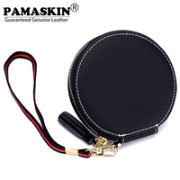 PAMASKIN Women Coin Purses 2017 New Arrival Guaranteed Cowhide Premium Genuine Leather Cute Short Small Round