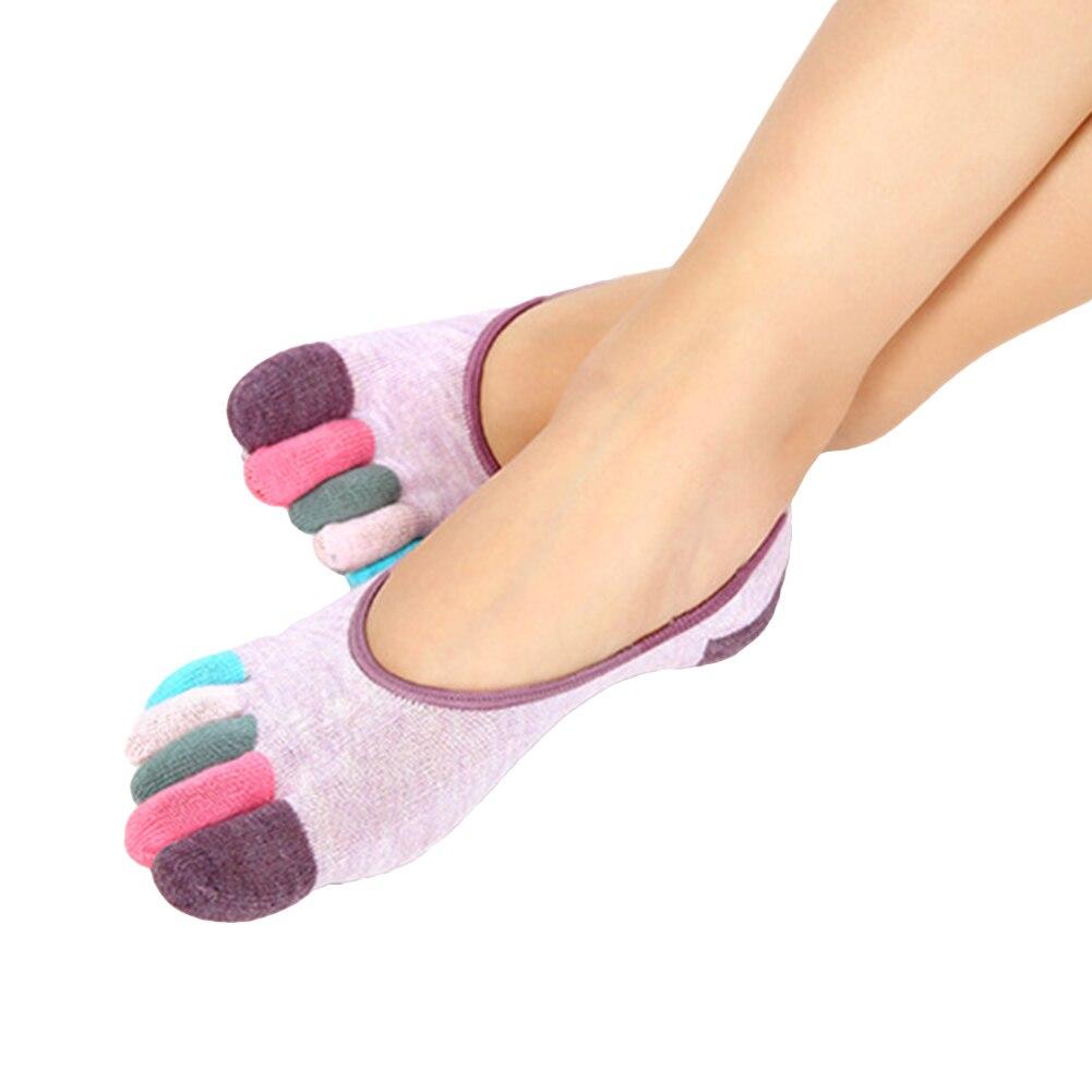 Fashion Color Blocking Cotton Women Multi-color Low Cut Spring Five Toe Socks