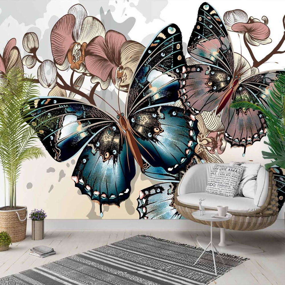 Else Brown Cream Flower Retro Blue Butterfly 3d Photo Cleanable Fabric Mural Home Decor Living Room Bedroom Background Wallpaper